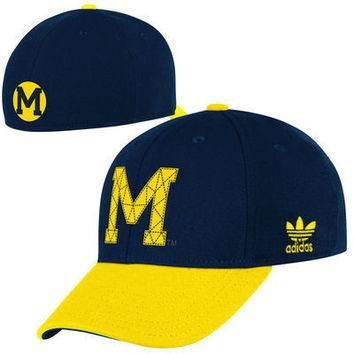 NCAA Adidas Michigan Wolverines Structured Flex Hat - Navy Blue/Yellow