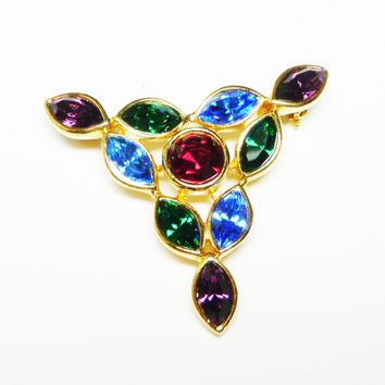 Jeweltone Rhinestone Brooch in Y Shape with Red, Blue and Green Pave Set Marquis