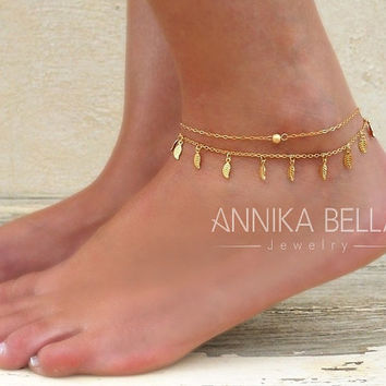 Layered Gold Anklet Set, 2 Gold Anklets - Gold Bead Anklet, Leaf Anklet,  Set Of 2 Anklets,
