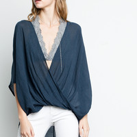 Sheer Crossover Blouse