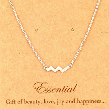 Silver Chevron Pendant Necklace