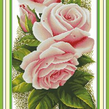 Pink Rose Flower Cotton Canvas DMC Cross Stitch Kits Art Crafts Accurate Printed Embroidery DIY Handmade Needle Work Home Decor