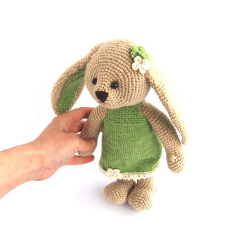 stuffed Easter bunny, crocheted beige bunny with mint green dress, girl bunny, amigurumi gift for children, rabbit, hare