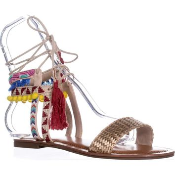 Indigo Rd. Doe Flat Ankle Tie Up Sandals, Gold Multi, 6.5 US