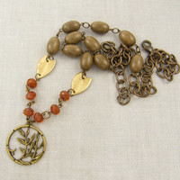 Wood Necklace - Rust Brown Tan Leaf Pendant - Brass Circle Bead Chain Nature Earth Tone Jewelry