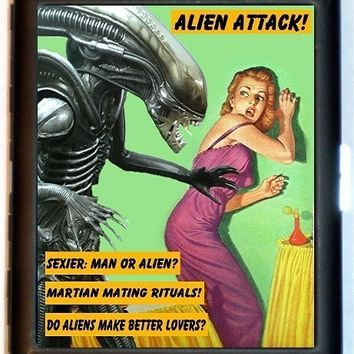 Alien Invader Attack Martian Mating Rituals Alien Sexy Time Cigarette or Business Card Holder Case Wallet