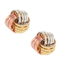 Tri-color Rose White and Yellow 10mm Gold Plated Knot Earrings