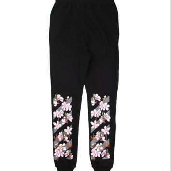 Off White New fashion floral couple loose leisure flower pants trousers Black