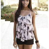 TIERED CHIFFON FEATHER PRINT CAMI
