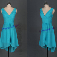 Short sage chiffon bridesmaid dresses in 2014,simple high low women dress for wedding party,cheap bridesmaid gowns under 100.