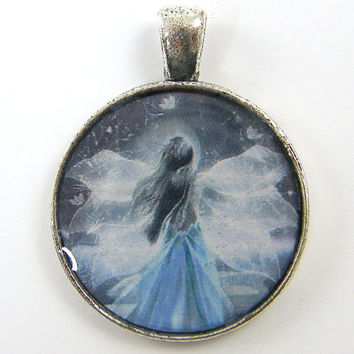 Fairy Pendant - Mystical Angel Wings Blue White Silver Jewelry Charm #fairy #mystical #fantasy #wings #angel
