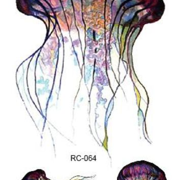 Tattoo Sticker Temporary Jellyfish Colorful Water Transfer
