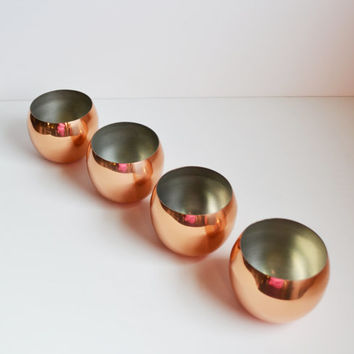 Vintage Barware Copper Roly Poly Cups Coppercraft Guild Copper Roly Poly Glasses Barcart Bar Accessories Set of 4 Roly Poly Cups