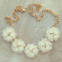 Pree Brulee - White Wedding Sparkling Bouquet Necklace