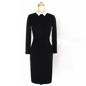 Black Long Sleeve Collared Midi Dress