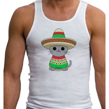 Cat with Sombrero and Poncho Mens Ribbed Tank Top by TooLoud