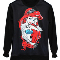 Black Mermaid Printed Sweatshirt