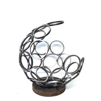 MOVING SALE - Round Metal Sculpture, Steel Table Top Sculpture, Circles, Domed Abstract Metal Sculpture, Stacking Circles, Minimalist Art