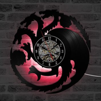 Fire Blood Game of Thrones Theme 3D Record Clock Hollow Round Dragon Shape LED Clock Antique Black Room Decor Hanging Wall Clock