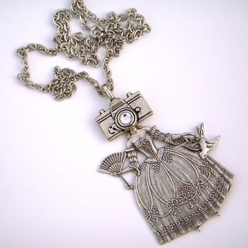 Camera Girl Necklace Gothic Victorian Sideshow Carnival Circus Freak Girl Steampunk Necklace Vintage Style Jewelry Antiqued Silver Plated