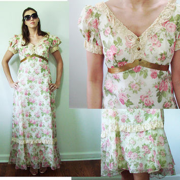 VINTAGE 1950s Floor Length Chiffon Pink & Green Tea Roses Peasant Southern Belle Dress Small