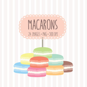 Pastel French Macaron Clip Art Set. 24 Rainbow Colors Macaron Cookie Digital Garphics. Birthday Scrapbooking, Cards, Invitations.