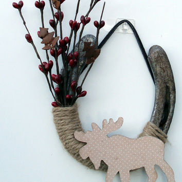 Moose Decorated Holiday Horseshoe, Western Decor Rustic theme, Farm Decor, Rustic home decor