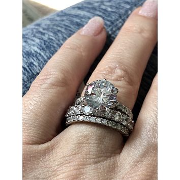 The Goddess Collection II, Three Stacking Rings with 8.7TCW Russian Lab Diamonds