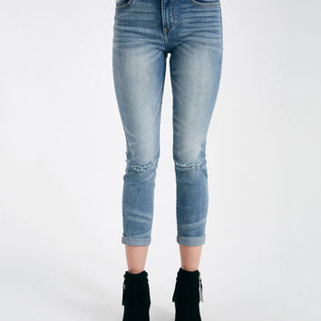 Whiskered Roll Cuff Skinny Jeans With Slit Knee | Wet Seal