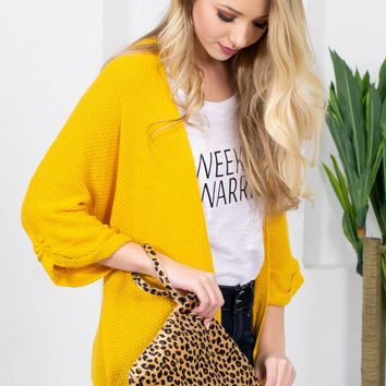 Holly Bright Knit Cardigan | Mustard
