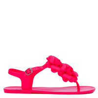 Floral Strap Pink Jelly Flat Sandals