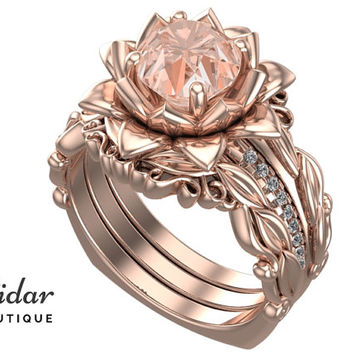 Flower Engagement Ring,Wedding Ring Set,Morganite Engagement Ring,Unique Engagement Ring,Floral Engagement Ring,wedding ring sets,Rose Gold