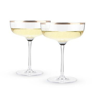 2 Piece Copper Rim Crystal Coupe Glass Set