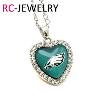 sports 10pcs/lot glass pendant heart Philadelphia Eagles charms with 45cm silver chains football necklace jewelry making