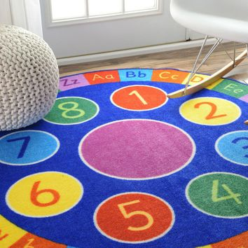 NuLOOM Number Circles Rug Blue
