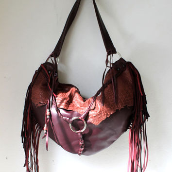 Burgundy oxblood leather croc embossed leather bag fringe purse boho bohemian gypsy bag festival ethnical bag sweet smoke fringed bag