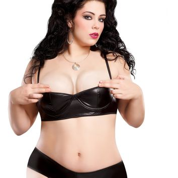 Plus Size Liquid Onyx Half Cup Bra and Gartered Boy Short Set