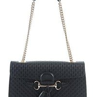 Gucci Women's Micro GG Guccissima Leather Emily Purse Handbag (Black) Gucci bag