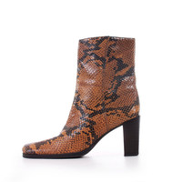 90s Vintage Snake Skin Chelsea Boots Tan Brown Leather Chunky Heel Ankle Retro Goth Shoes Women Size US 6.5 UK 4.5 EUR 37/38