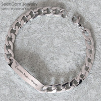 Custom Personalized Name Engraved Cowboy Men Bracelet,Customize Words 316 Stainless Steel Bracelet Women Clothing Accessories