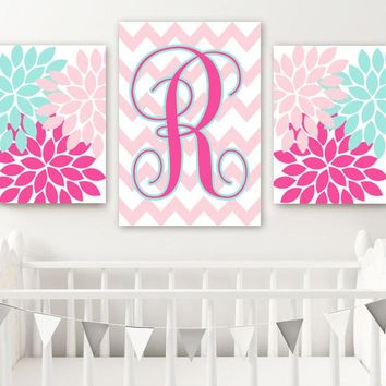 Hot Pink Aqua Blue Nursery Decor, Monogram Wall Art, Baby Girl Nursery Wall Art, Flower Monogram Nursery Decor, Set of 3 Canvas or Print