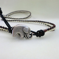 Lucky Elephant multi wrap bracelet with Silver beads