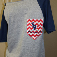 Houston Texans Pocket Off-the-Shoulder Shirt Chevron Football Toro Bull