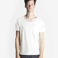 Basic Raw-Cut Short Sleeve Tee in Off-White