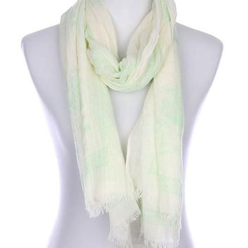 Green Hindu Elephant Print Frayed Edge Scarf