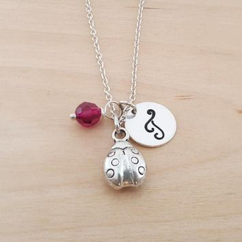 Ladybug Necklace - Ladybug Charm - Birthstone Necklace - Personalized Gift - Initial Necklace - Sterling Silver Jewelry - Gift for Her