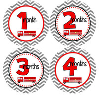 Monthly Onesuit Stickers Baby Month Stickers Baby Boy Blue Red Chevron Firetruck Onesuit Month Stickers Baby Shower Gift and Photo Prop Logan2