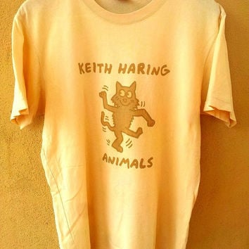 90's Vintage KEITH Haring Animals Art Andy Warhol Fashion Punk Tee T shirt Size M