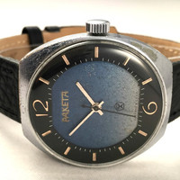 "Vintage Chunky Soviet watch called ""Raketa"" (eng.Rocket) mechanical watch with gorgeous blue dial, new high quality leather band."