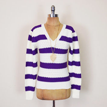 Vintage 70s 80s Ivory Cream Purple Stripe Sweater Jumper Pointelle Sweater Open Knit Sweater Double V-Neck Sweater 80s Sweater Women XS S